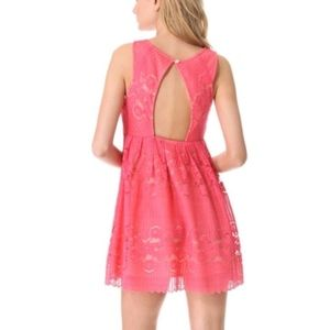 Free People Rocco Cherry Coral Cream Lace Dress